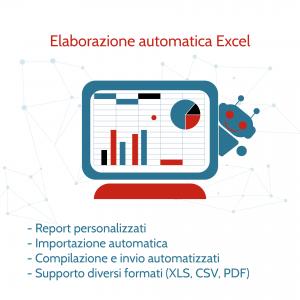 Elaborazione automatica excel: Report personalizzati, importazione automatica, compilazione e invio automatizzati, supporto diversi formati